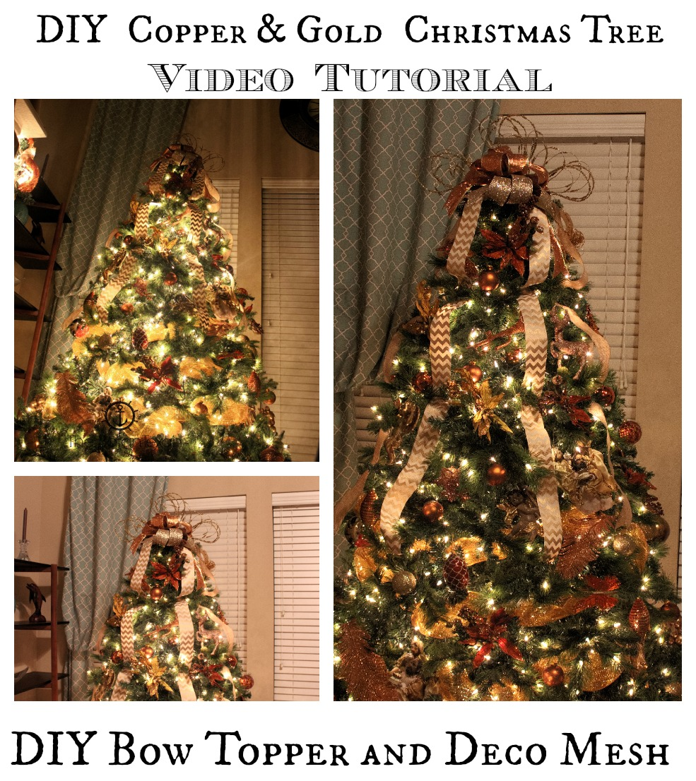 Decorate Christmas Tree Video Tutorial With Bow Topper And Deco Mesh The Bajan Texan