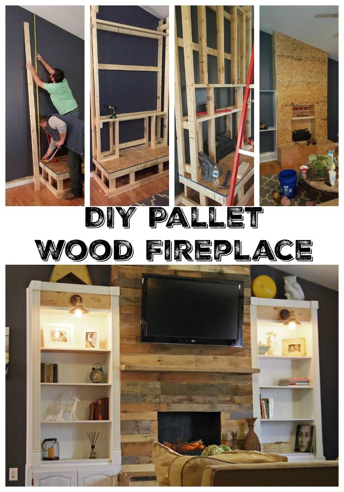 diy wood pallett fireplace